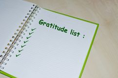 Gratitude list on open agenda Stock Photography