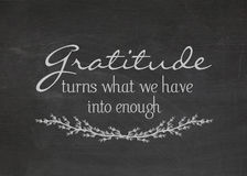 Gratitude quote on blackboard Royalty Free Stock Photography