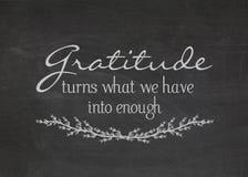 Gratitude quote on blackboard