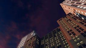 Grattacieli astratti contro cielo notturno stock footage
