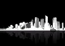 Grattacieli bianchi sul BAC nero illustrazione di stock