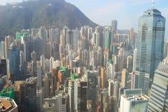 Grattacieli, costruzioni, strada nella città di Hong Kong Fotografie Stock Libere da Diritti