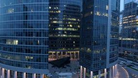 Grattacieli del centro di affari internazionale di Mosca alla notte 4K archivi video