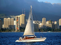 Grattacieli di Honolulu in Hawai Immagini Stock
