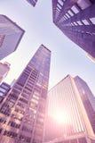 Grattacieli di Manhattan al tramonto, New York, U.S.A. Fotografie Stock Libere da Diritti