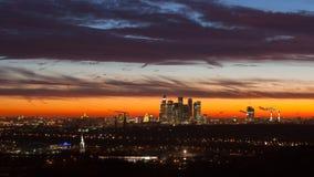 Grattacieli di Mosca nei raggi del sole di mattina Immagine Stock Libera da Diritti