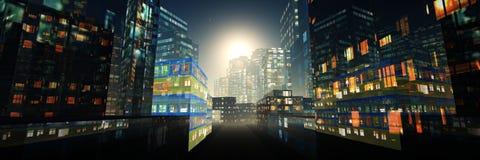 Grattacieli di notte Immagini Stock Libere da Diritti