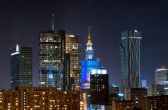 Grattacieli di notte a Varsavia Immagini Stock