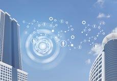 Grattacieli e cielo con la rete Fotografia Stock Libera da Diritti