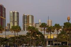 Grattacieli e Sydney Tower di Sydney CBD veduti da Pyrmont Fotografia Stock Libera da Diritti