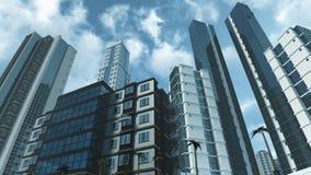 Grattacieli ed appartamenti moderni con la rappresentazione riflettente di vetro 3D Immagine Stock