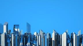 Grattacieli futuristici nel flusso Il flusso dei dati digitali Città del futuro illustrazione 3D rappresentazione 3d illustrazione di stock