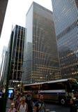 Grattacieli in Manhattan al tramonto, New York, U.S.A. Immagini Stock