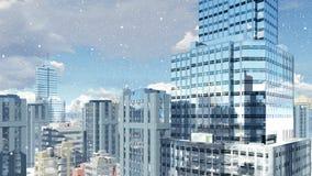 Grattacieli moderni al giorno 4K delle precipitazioni nevose archivi video