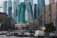 Grattacieli moderni e vecchia città Fotografia Stock Libera da Diritti