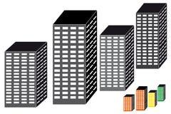 Grattacieli su priorità bassa bianca Immagine Stock Libera da Diritti