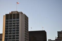 Grattacielo americano di dominazione con la bandiera americana Immagine Stock Libera da Diritti