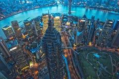 Grattacielo di Shanghai alla notte Fotografia Stock