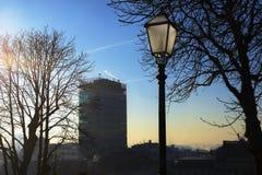 Grattacielo di Zagabria con una lanterna Fotografia Stock Libera da Diritti