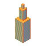 Grattacielo isometrico piano 3d Centro di affari Isolato su priorità bassa bianca per i giochi, icone Immagini Stock
