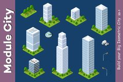 Grattacielo isometrico urbano Fotografia Stock Libera da Diritti