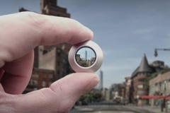 Grattacielo tramite una lente Fotografia Stock