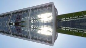 Gratte-ciel établissant la vue d'effet de miroir dans l'architecture de Francfort Allemagne Photographie stock