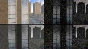 Gratte-ciel au-dessus d'île de ciment avec différents temps illustration stock