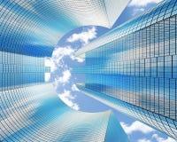 Gratte-ciel avec une euro forme contre les nuages, vue de dessous, bannière Avec le canal alpha illustration 3D illustration libre de droits