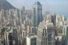 Gratte-ciel, bâtiments, route en ville de Hong Kong Images libres de droits