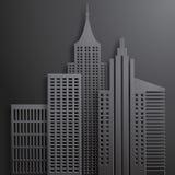 Gratte-ciel 3D noirs de papier abstraits Photos stock