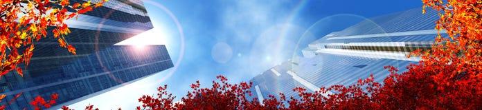 gratte-ciel dans la ville d'automne Image libre de droits