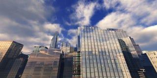 Gratte-ciel dans le ciel photo stock