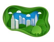Gratte-ciel de papier Bâtiment d'Achitectural dans la vue panoramique illustration de vecteur