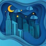 Gratte-ciel de papier Bâtiment d'Achitectural dans la vue panoramique illustration stock