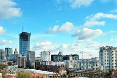 Gratte-ciel du centre d'affaires de vue aérienne, centre de la ville Photos libres de droits