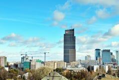 Gratte-ciel du centre d'affaires de vue aérienne, centre de la ville Images libres de droits