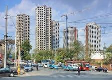 Gratte-ciel en construction province à Dalian, Liaoning, Chine Image libre de droits