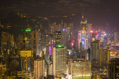 Gratte-ciel et d'autres bâtiments sur Hong Kong Island en Hong Kong, Chine, vue de la colline de Braemar Image stock