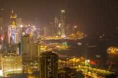 Gratte-ciel et d'autres bâtiments sur Hong Kong Island en Hong Kong, Chine, vue de la colline de Braemar Photos stock
