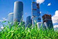 Gratte-ciel et herbe Images libres de droits