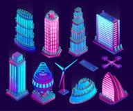 Gratte-ciel et objets au n?on lumineux de ville futuriste Illustration de vecteur photographie stock