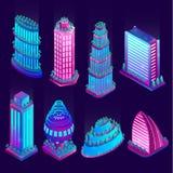 Gratte-ciel et objets au n?on lumineux de ville futuriste Illustration de vecteur photos stock