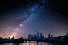 gratte-ciel financiers d'horizon de Francfort de district Image libre de droits