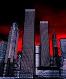 Gratte-ciel la nuit - illu 3D Photo libre de droits