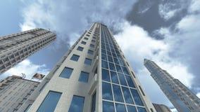 Gratte-ciel modernes avec le rendu réfléchissant en verre 3D Photo stock