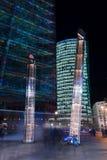Gratte-ciel sur Postadmer Platz à l'éclairage de nuit Photos libres de droits