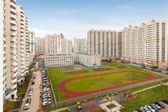 Gratte-ciel urbain établissant la vue aérienne extérieure Photographie stock libre de droits