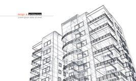 Gratte-ciel urbanistique 3D abstraits rendent de la structure de cadre de fil de bâtiment Idée graphique de construction de vecte illustration de vecteur