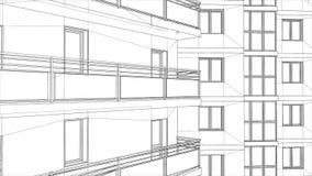 Gratte-ciel urbanistique 3D abstraits rendent de la structure de cadre de fil de bâtiment idée graphique de construction pour le  Photo libre de droits